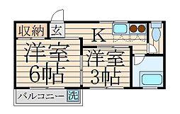 東京都中野区沼袋1丁目の賃貸マンションの間取り