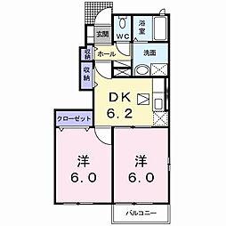 広島県東広島市八本松町宗吉の賃貸アパートの間取り