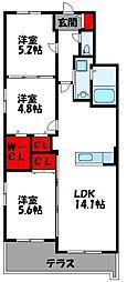JR鹿児島本線 古賀駅 徒歩15分の賃貸マンション 1階3LDKの間取り
