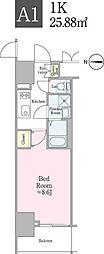 JR総武線 飯田橋駅 徒歩5分の賃貸マンション 6階1Kの間取り