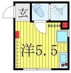 西武池袋線 椎名町駅 徒歩1分の賃貸マンション 2階ワンルームの間取り