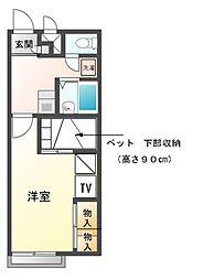 兵庫県姫路市別所町佐土3の賃貸アパートの間取り