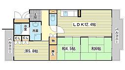 兵庫県姫路市嵐山町の賃貸マンションの間取り