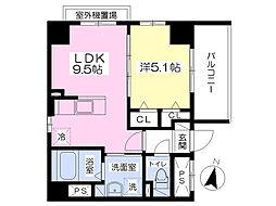 大名デュークマンション 7階1LDKの間取り