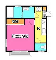 埼玉県所沢市緑町2丁目の賃貸アパートの間取り