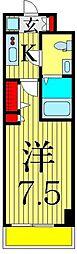 京成本線 お花茶屋駅 徒歩9分の賃貸マンション 8階1Kの間取り