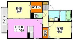 千葉県船橋市山手3丁目の賃貸アパートの間取り