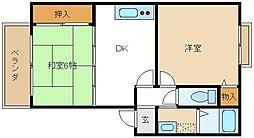 近鉄南大阪線 上ノ太子駅 徒歩14分の賃貸マンション 2階2DKの間取り