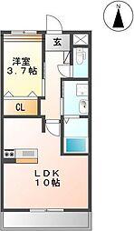 アンスリールM 2階1LDKの間取り