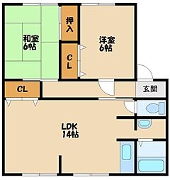 兵庫県神戸市西区王塚台4丁目の賃貸アパートの間取り
