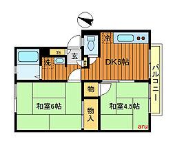 東京都三鷹市牟礼7丁目の賃貸アパートの間取り