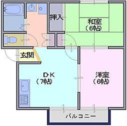 奈良県天理市櫟本町の賃貸アパートの間取り