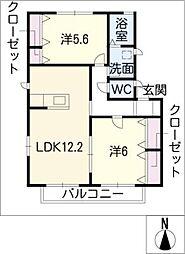 ベルリード・K[2階]の間取り