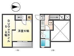 愛知県名古屋市北区東水切町3の賃貸アパートの間取り