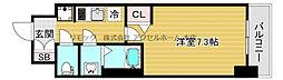 プリムール新深江 11階1Kの間取り
