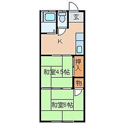 神奈川県川崎市川崎区中島2の賃貸アパートの間取り