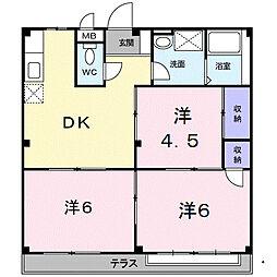 福岡県福岡市西区野方1丁目の賃貸アパートの間取り