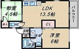 シティハイム東豊中[1階]の間取り