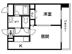 レジディア札幌駅前 14階1LDKの間取り