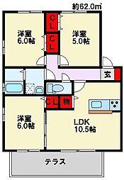 シェルノーブル B棟[2階]の間取り