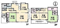 [一戸建] 岡山県倉敷市沖新町 の賃貸【/】の間取り