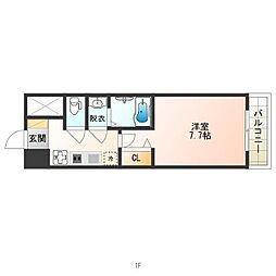 南海高野線 天下茶屋駅 徒歩7分の賃貸マンション 9階1Kの間取り