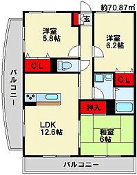 第壱上野マンション[6階]の間取り
