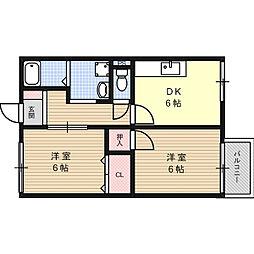 大阪府高槻市野田2丁目の賃貸アパートの間取り
