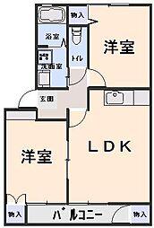 ステージ6 E棟 2階2LDKの間取り