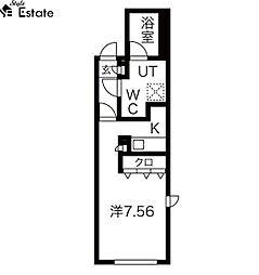 名古屋市営東山線 東山公園駅 徒歩4分の賃貸マンション 5階ワンルームの間取り