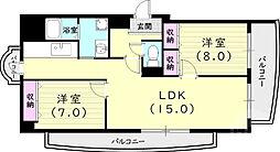 サンパティ西宮 3階2LDKの間取り