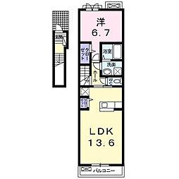 大阪府松原市高見の里3丁目の賃貸アパートの間取り