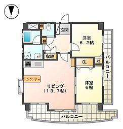 愛知県名古屋市北区上飯田北町2丁目の賃貸マンションの間取り