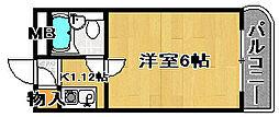 ラフォーレ助松[1D号室]の間取り