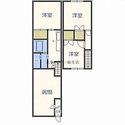 JR学園都市線 篠路駅 5.8kmの賃貸アパート 1階3LDKの間取り