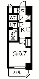スプランディッド難波元町DUE 10階1Kの間取り