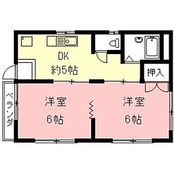 コーポ横山[D号室]の間取り