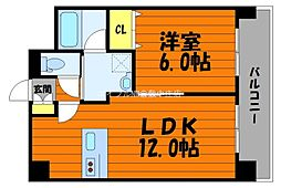 岡山県倉敷市老松町4丁目の賃貸マンションの間取り