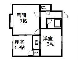 北海道札幌市清田区平岡三条3丁目の賃貸アパートの間取り