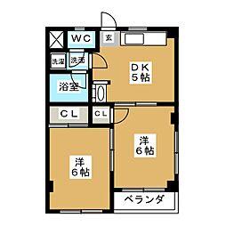ハイツヤマフク[3階]の間取り