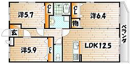 福岡県北九州市小倉南区上石田2丁目の賃貸マンションの間取り