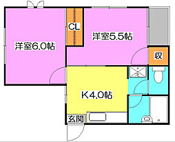 東京都西東京市ひばりが丘2丁目の賃貸アパートの間取り