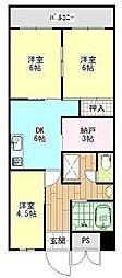 広島県福山市野上町2丁目の賃貸マンションの間取り