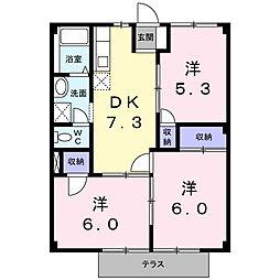 福岡県中間市蓮花寺3丁目の賃貸アパートの間取り