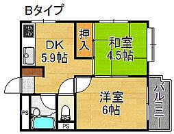 プレアール西加賀屋[3階]の間取り