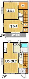 [テラスハウス] 神奈川県小田原市鴨宮 の賃貸【神奈川県 / 小田原市】の間取り