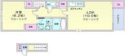 仙台市営南北線 八乙女駅 徒歩33分の賃貸アパート 2階1LDKの間取り