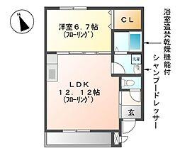 愛知県名古屋市東区新出来1丁目の賃貸アパートの間取り