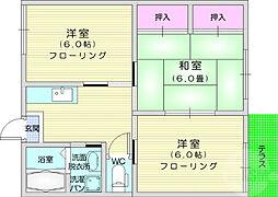 JR東北本線 南仙台駅 徒歩11分の賃貸アパート 2階3DKの間取り