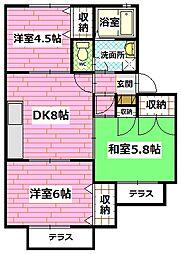 広島県広島市安佐南区安東2丁目の賃貸アパートの間取り
